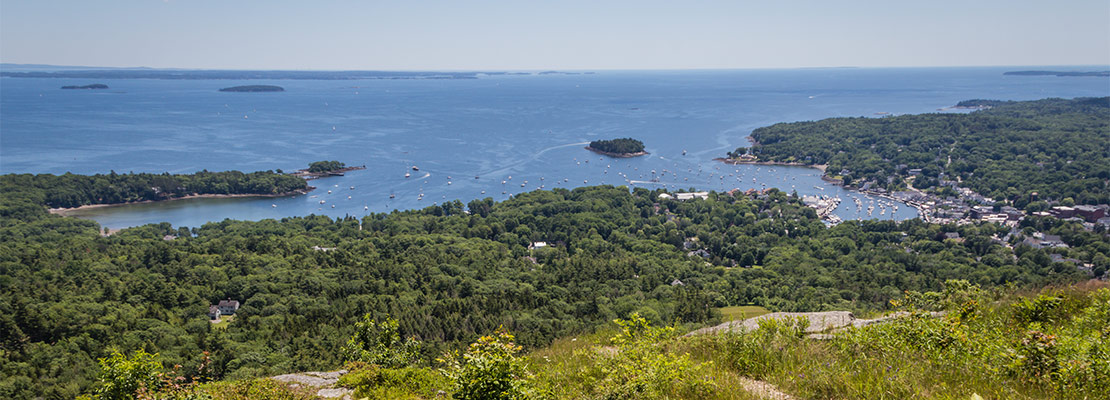 Scenic view of Camden Harbor from Mount Battie at Camden Hills State Park