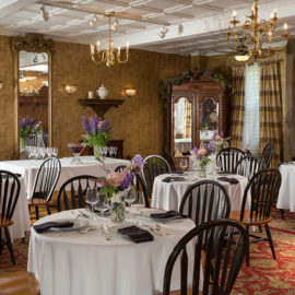 Dining tables in the romantic ballroom