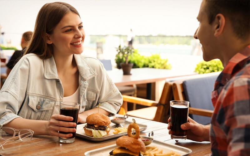 Couple dining near Acadia National Park in Maine