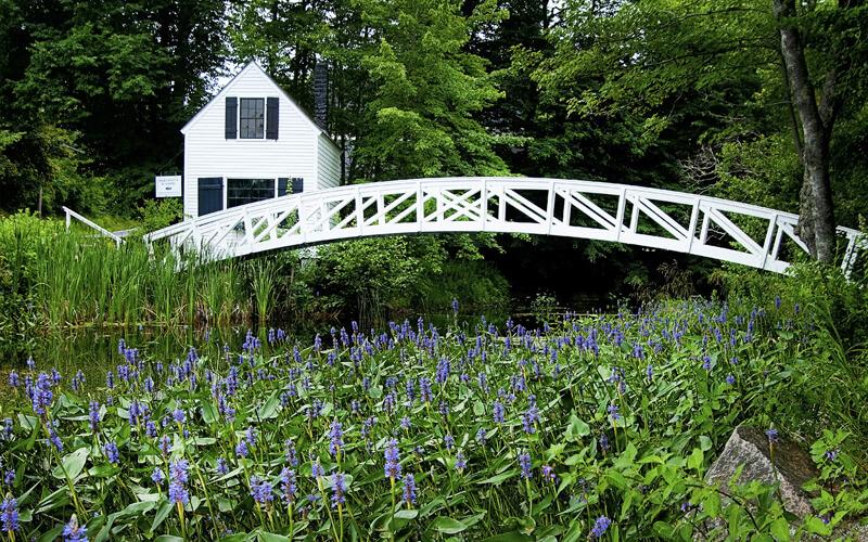 White bridge at Acadia Park botanical gardens