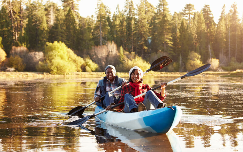Couple kayaking in Maine Acadia National Park