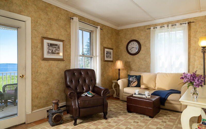 Comfortable guest room at Captain Nickels Inn with ocean view