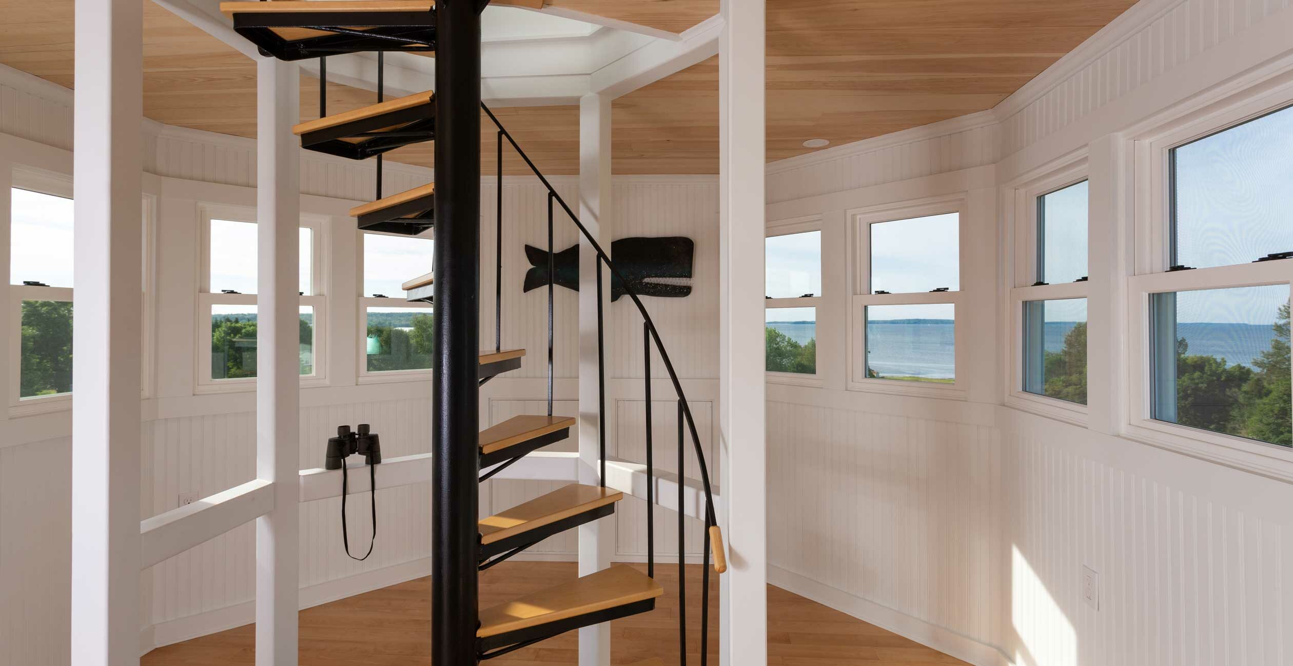 Cupola Spiral Staircase with panaromic windowed view of the ocean