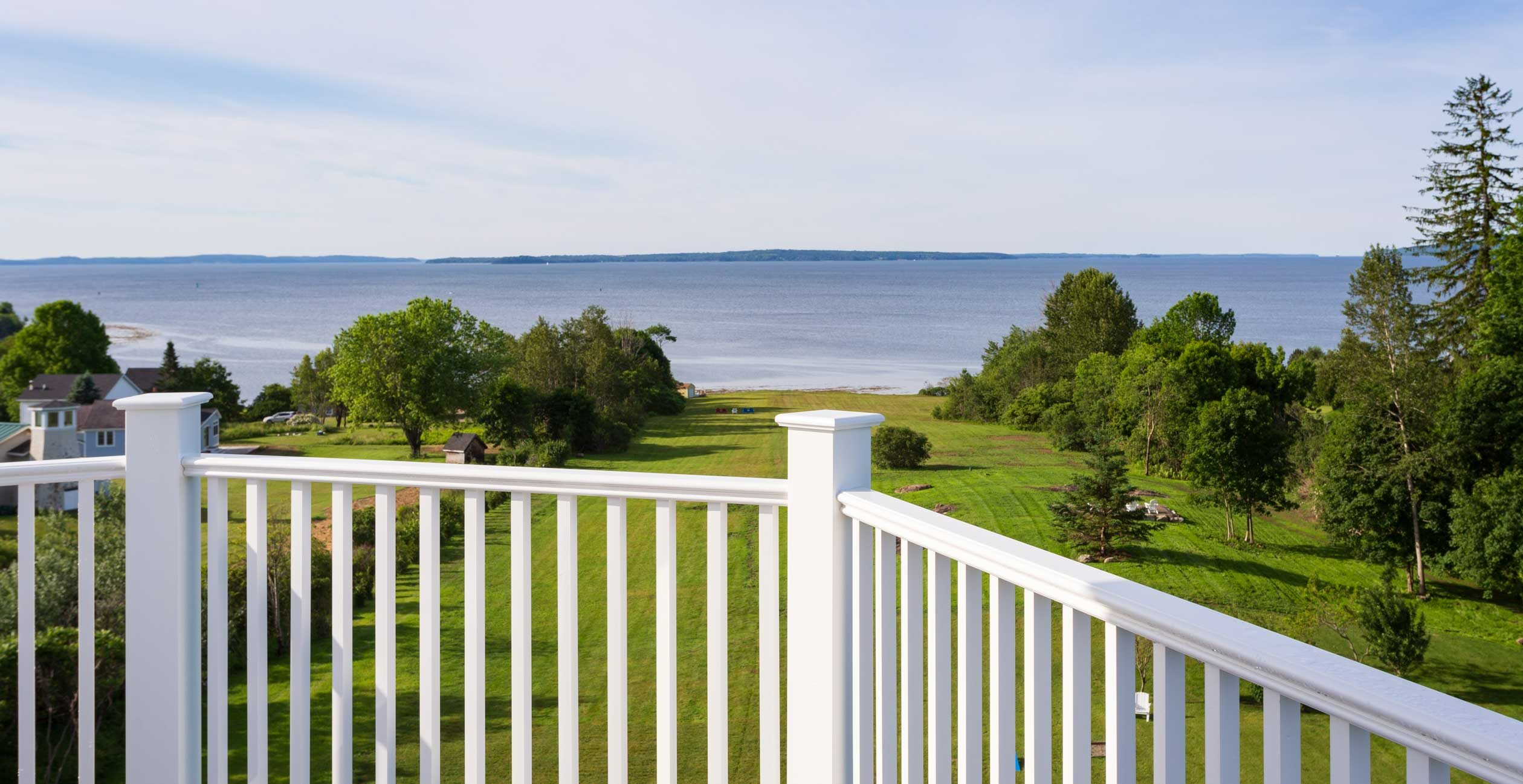 Ocean view from the private balcony at our Searsport, Maine hotel