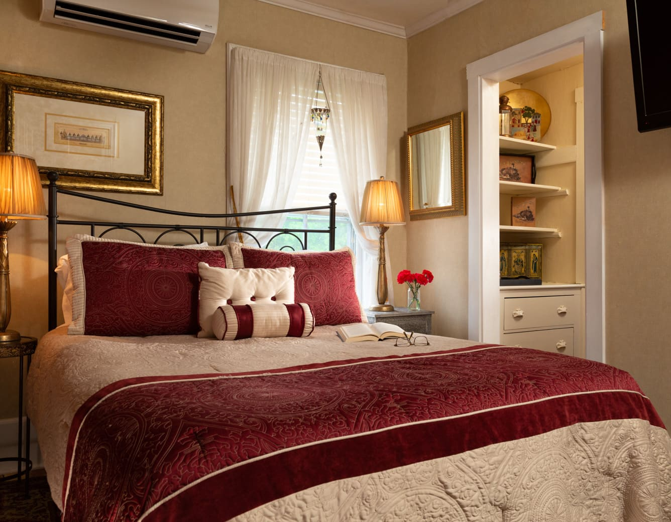 Queen bed with two end tables