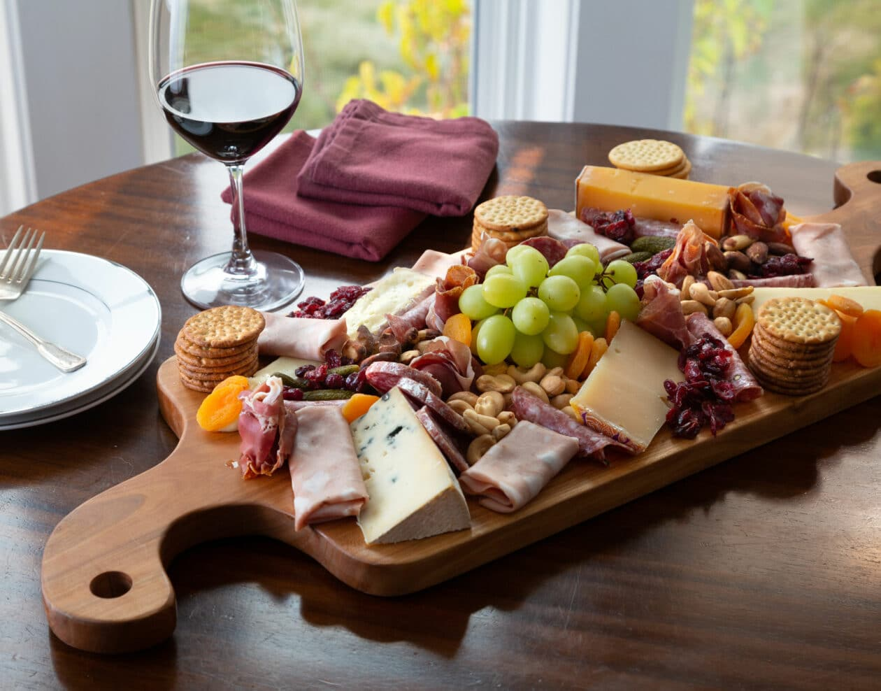 Charcuterie Cheese board with wine