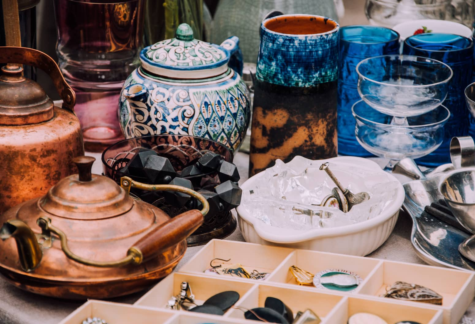 A variety of antique dishes and pots