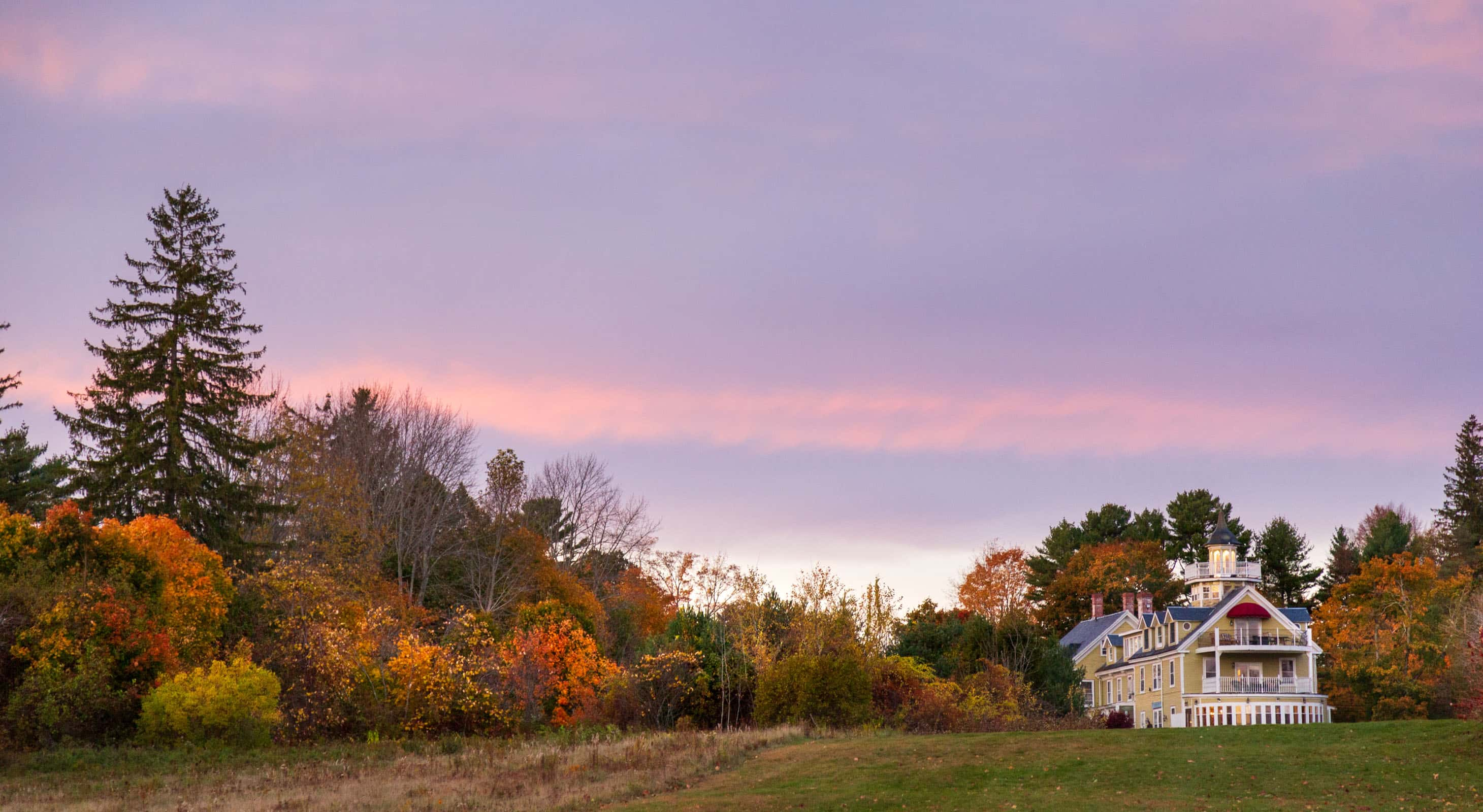 The Exterior of our B&B near Belfast, Maine at sunset in the fall