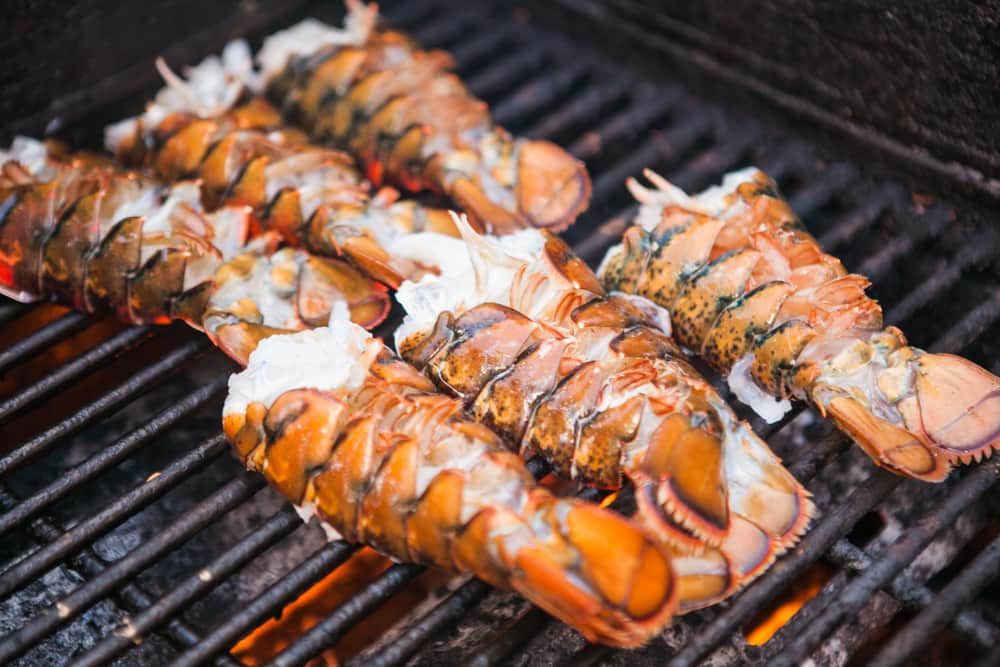 Lobster tails on a grill