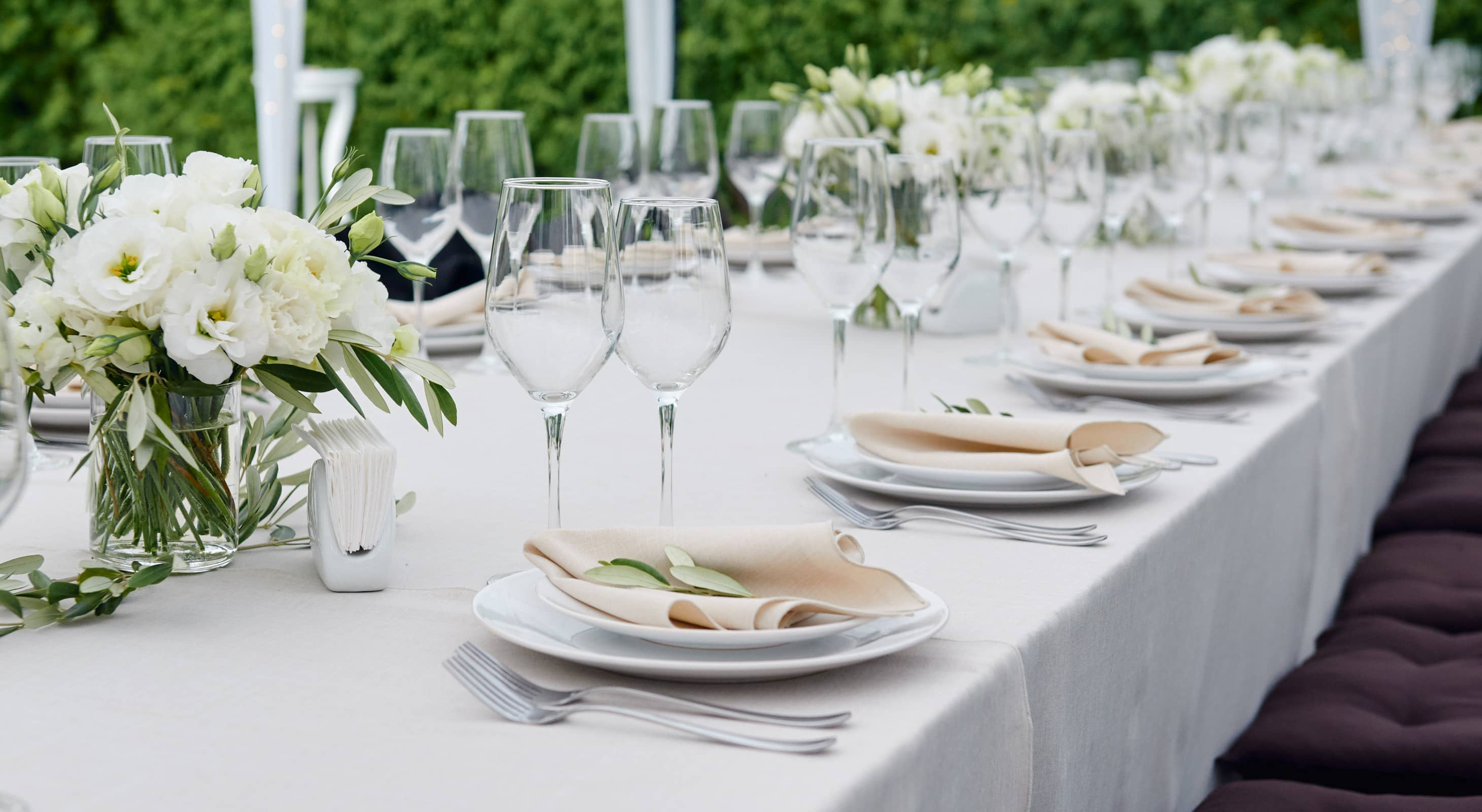 Event table set for dining