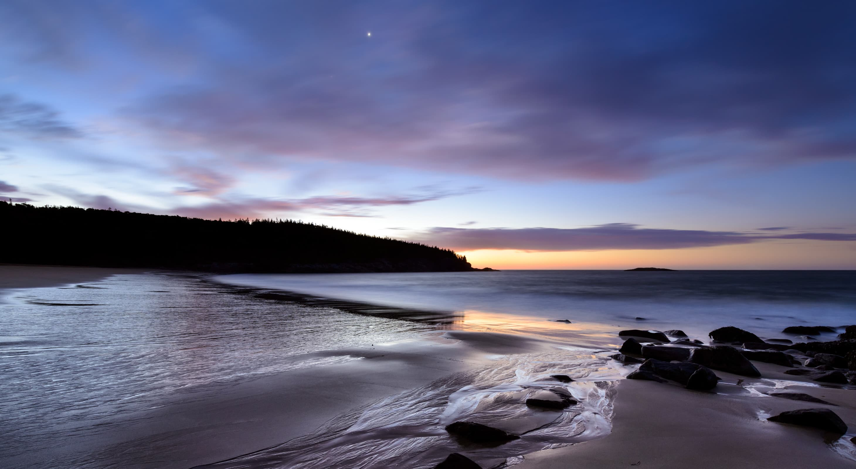 The shoreline at Acadia national park in the twilight hours