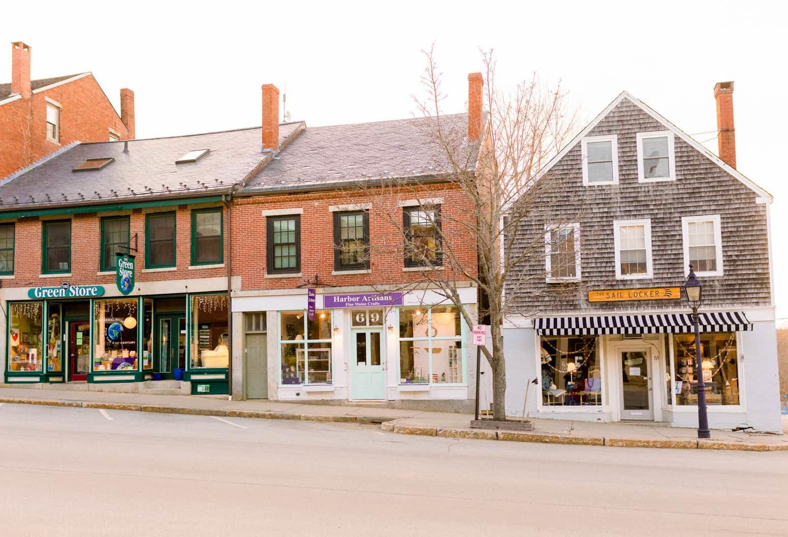 Downtown street view of Belfast, Maine