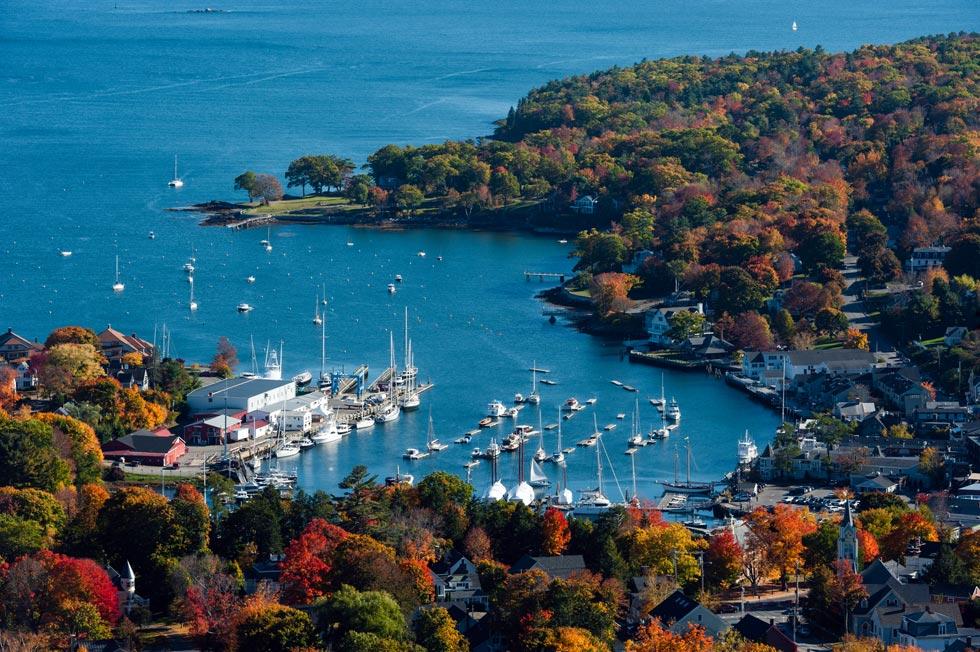 Camden Harbor in fall