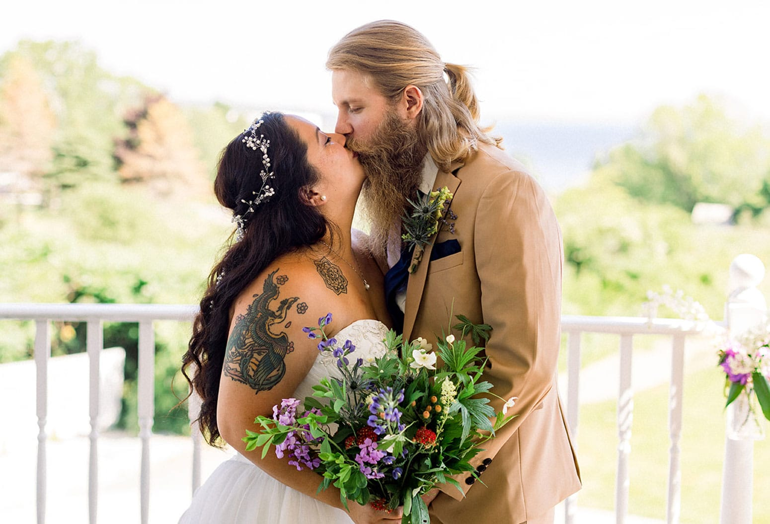 Newlywed Couple share their first kiss at conclusion of ceremony