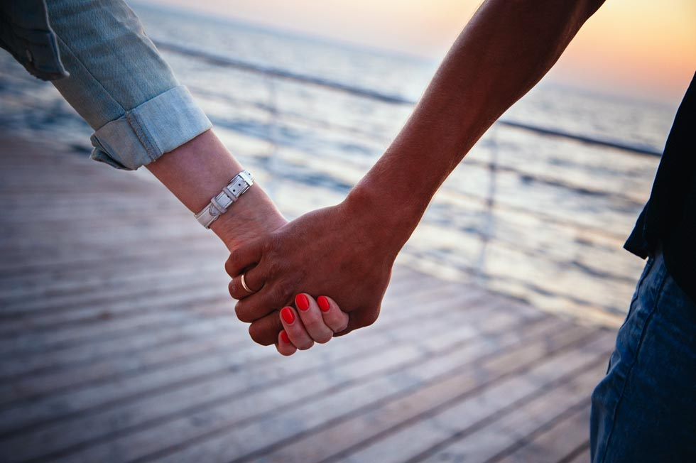 hand holding on the pier